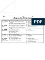 5 Steps of the Writing Process Chart