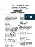 B71_SBI Bank Clerks' Exam[1]. Original Q & A 2001