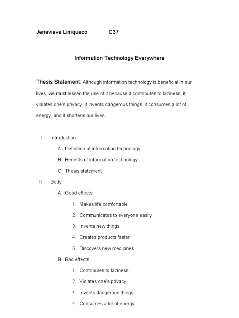 argumentative essay about information technology radiation