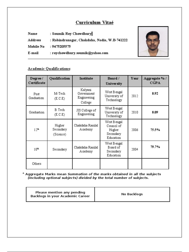 resume format for tcs - Job Resume Format