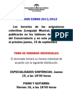 Instrucciones para la toma de horarios curso 2011/2012