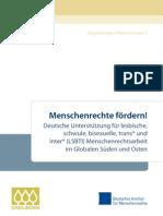 Menschenrechte fördern! Deutsche Unterstützung für lesbische,  schwule, bisexuelle, trans* und  inter* (LSBTI) Menschenrechtsarbeit  im Globalen Süden und Osten
