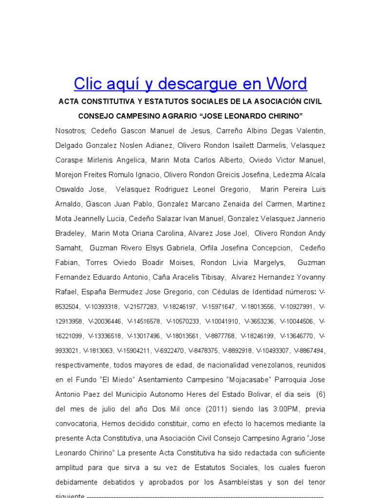 Formato Modelo Ejemplo Acta Constitutiva y Estatutos Sociales Del ...