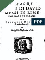 I sacri Salmi di Davide (con spartito)  messi in rime volgari italiane, da Giovanni Diodati 1664
