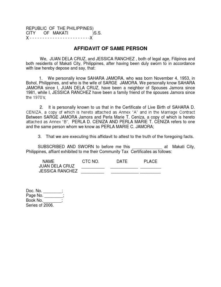 Affidavit of Discrepancy in Name – Standard Affidavit Form