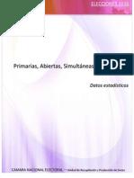 Cámara Nacional Electoral. Estadísticas de Las Elecciones Primarias