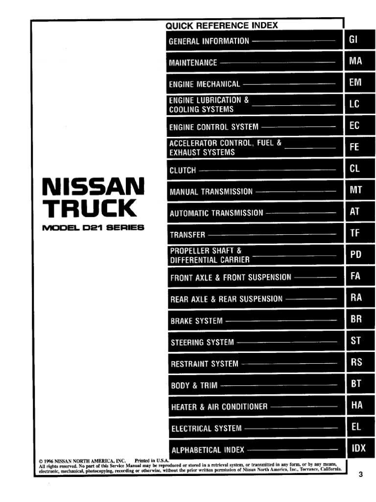 nissan truck d21 service manual 97 systems engineering vehicle rh scribd com 2003 Nissan Sentra Manual 1982 Nissan Sentra
