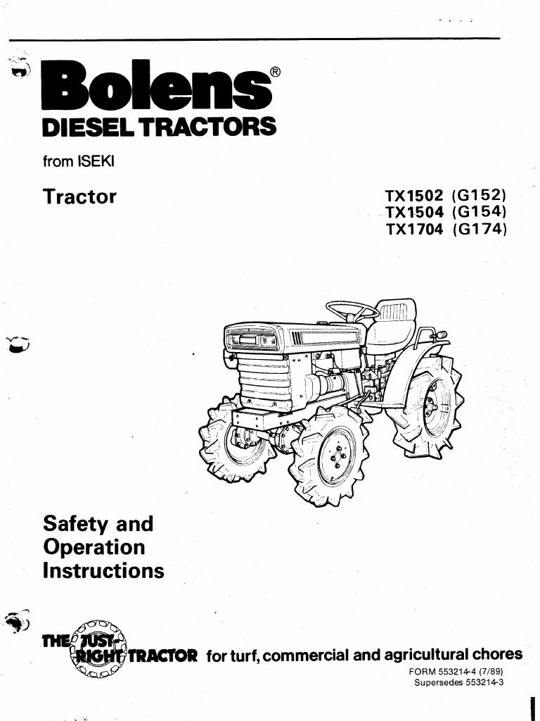 Iseki Bolens TX2140 2160 Owners Manual – Iseki Tractor Wiring Diagram