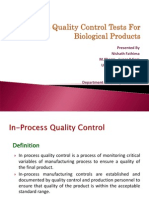 Inprocess Quality Control tests for Biological Products