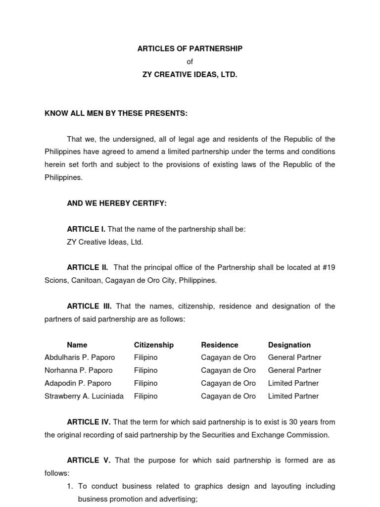 Sample Articles of Partnership Partnership – Partner Contract Sample