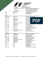 2011 F1 Italian Grand Prix Timetable