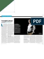"""""""In english, please"""". Por Carlos Dávalos, en Esquire (España) Septiembre 2011"""