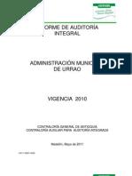 Auditoria a Alcaldia Urrao gestion 2010+URRAO ADMON I2010