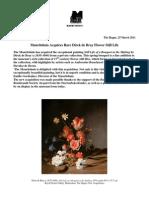 Mauritshuis Acquires Rare Dirck de Bray Flower Still Life