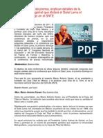 Conferencia de Prensa Sobre Conferencia Del Dalai Lama 7-09-11