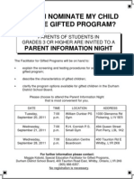 Parent Info Flyer 2011