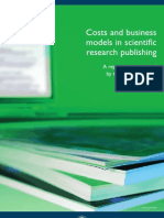 Costs and Business Models in Scientific Research Publishing. Wtd003184