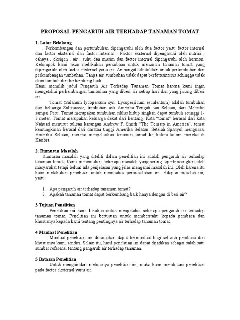 Proposal Penelitian Tanaman Tomat Ilustrasi