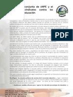 Declaracion conjunta de ANPE y otros sindicatos contra los recortes en educación.