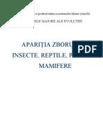 Aparitia Zborului La Insecte, Reptile, Pasari Si Mamifere