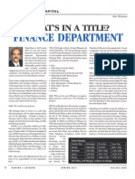 Finance Department Article Spring 2011