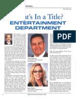 Entertainment Department Article Summer 2009