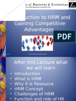 Lec One-Introduction to HRM and Gaining Competitive Advantages