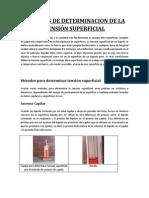 MÉTODOS DE DETERMINACION DE LA TENSIÓN SUPERFICIAL