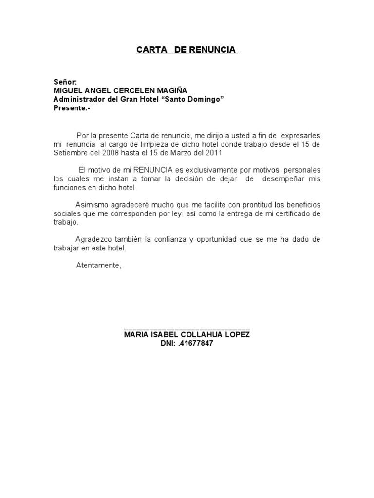 Carta notarial renuncia 2010 for Pension para universitarios