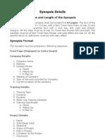 Summer Training Synopsis Format