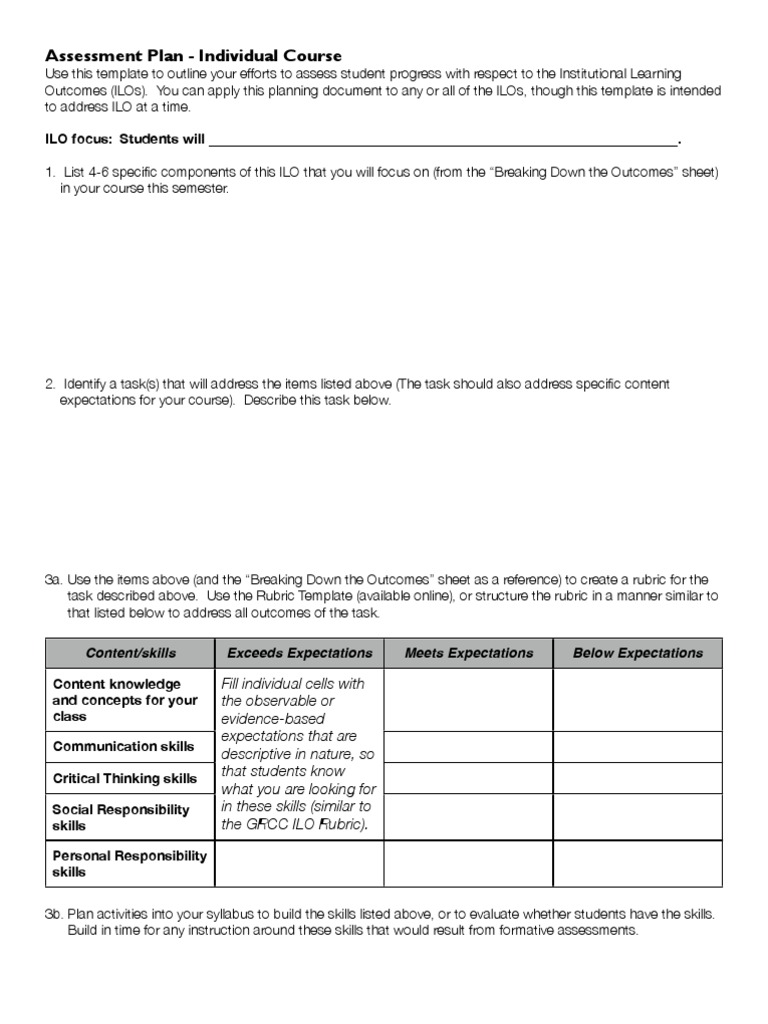 Assessment Planning Guide   Rubric (Academic)   Educational Assessment