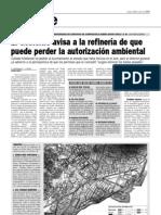 El Gobierno Avisa a La Refineria de Que Puede Perder La Autorizacion Ambiental Par 28-05-09