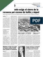 El Ayuntamiento exige el cierre de la refineria por exceso de hollín y niquel (21-02-2009)