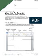 Dummies Guide - Word 2010 Cheat Sheet
