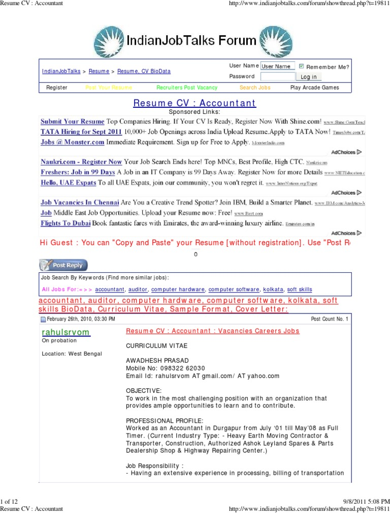 Resume Cv Accountant Resume Cheque