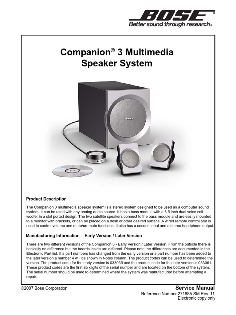 companion 3 sch electrostatic discharge equalization audio rh es scribd com Bose Companion 2 bose companion 3 series 2 service manual