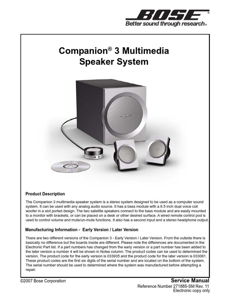 bose companion 3 technical manual