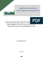 Analisi di qualità dell'attuale Sito Web dell'Ordine degli Ingegneri della provincia di Benevento e proposte per una nuova piattaforma on line