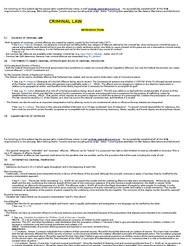 Criminal Law NCA Summary | Recklessness (Law) | Mens Rea