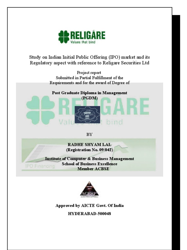 Project Report on Indian IPO Special Reference With Religare Securites |  Initial Public Offering | Securities (Finance)