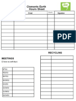 Clements Earth Hours Sheet