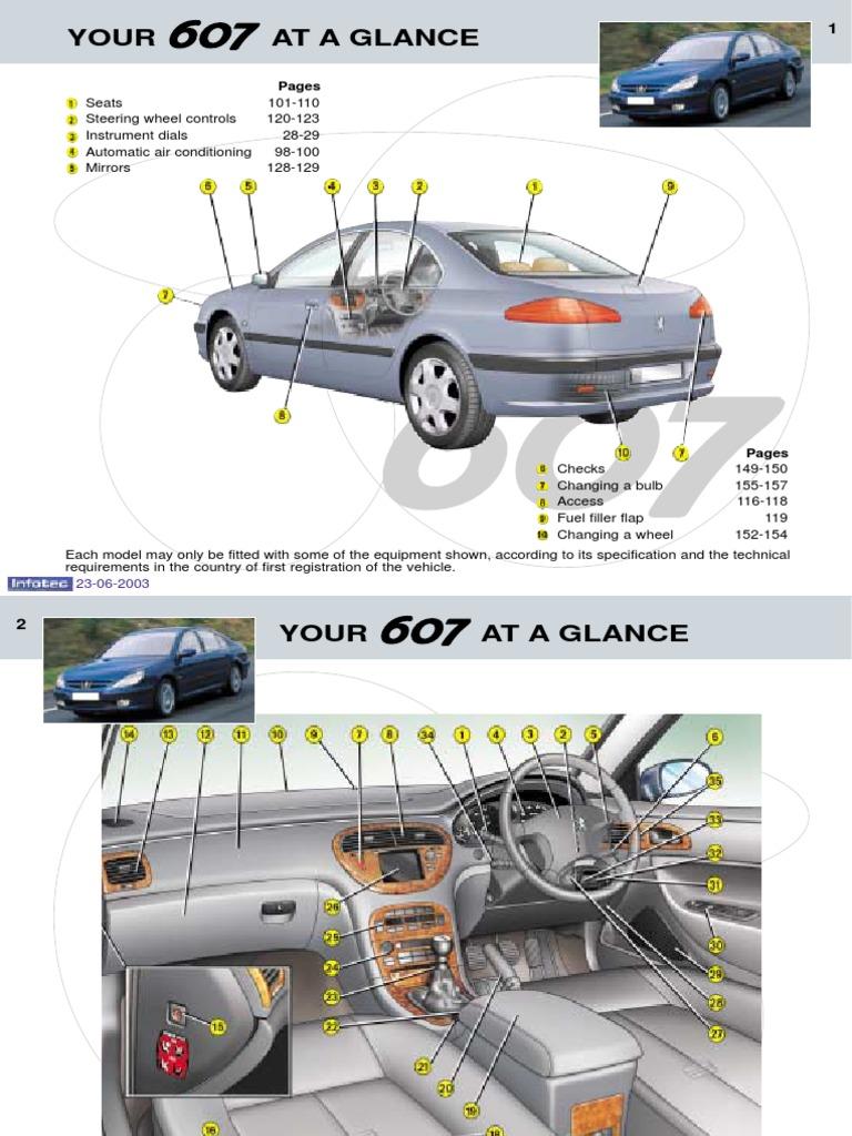 peugeot 607 owners manual 2003 seat belt airbag rh scribd com peugeot 607 fuse box location