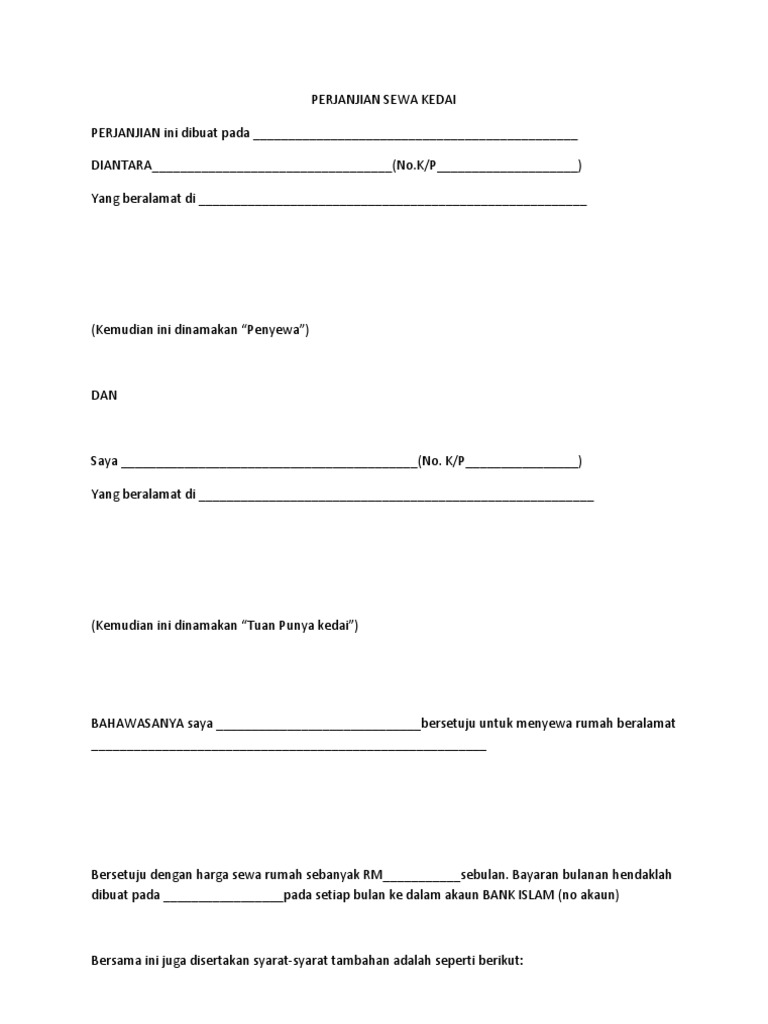 Contoh Surat Perjanjian Sewa Rumah Kediaman Kumpulan Surat Penting