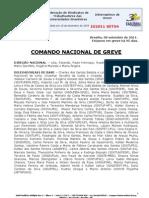 Informe de 8 de setembro de 2011 do Comando Nacional de Greve