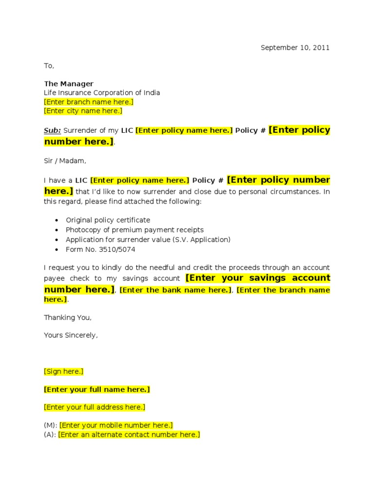 Lic market plus surrender request letter template yelopaper Gallery