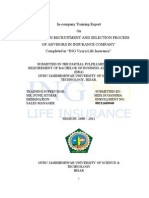 """""""A STUDY ON RECRUITMENT AND SELECTION PROCESS OF ADVISORS IN INSURANCE COMPANY"""""""