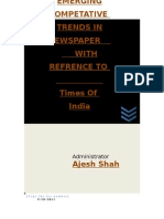 Emerging Competative Trends in Newspaper With Refrence to Times of India