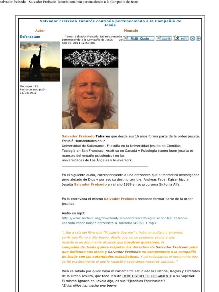 salvador freixedo - Salvador Freixedo Tabarés continúa