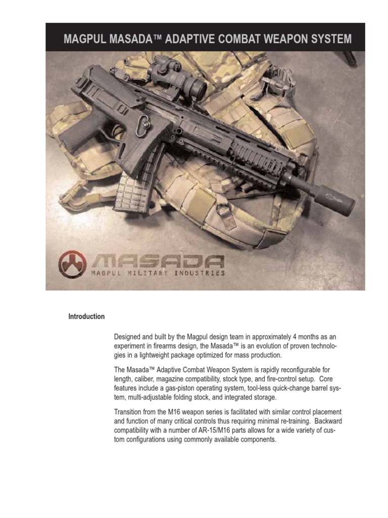 Masada Technote | Firearms | Projectile Weapons