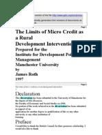 Limitations of Micro Lending